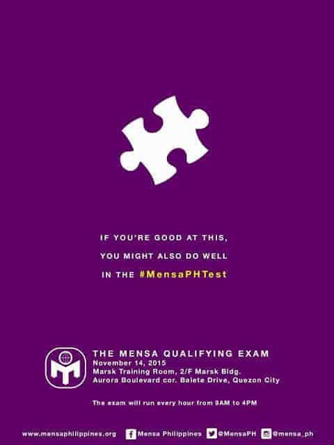 Mensa Philippines' Qualifying Test on Nov 14, 2015