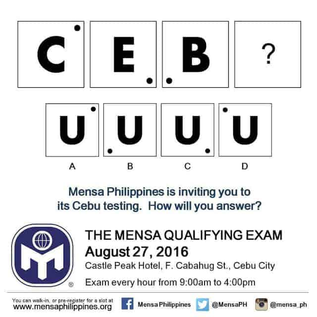 The Next Mensa Qualifying Exam Will Be in Cebu!
