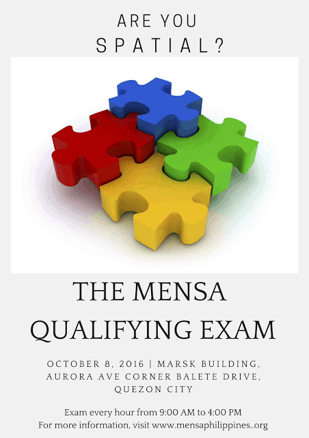The Next Mensa Qualifying Exam in Manila is on October 8, 2016!