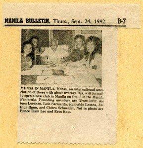 19920924 Manila Bulletin - Mensa in Manila