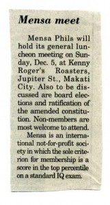 19991130 Manila Bulletin - Mensa meet