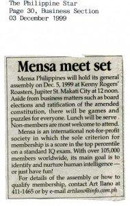 19991203 Philippine Star - Mensa meet